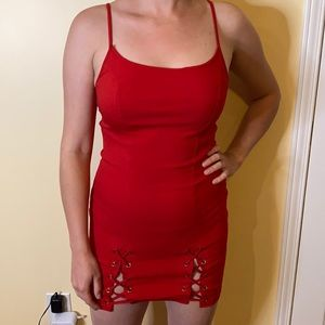 Sexy red lace up detailed dress